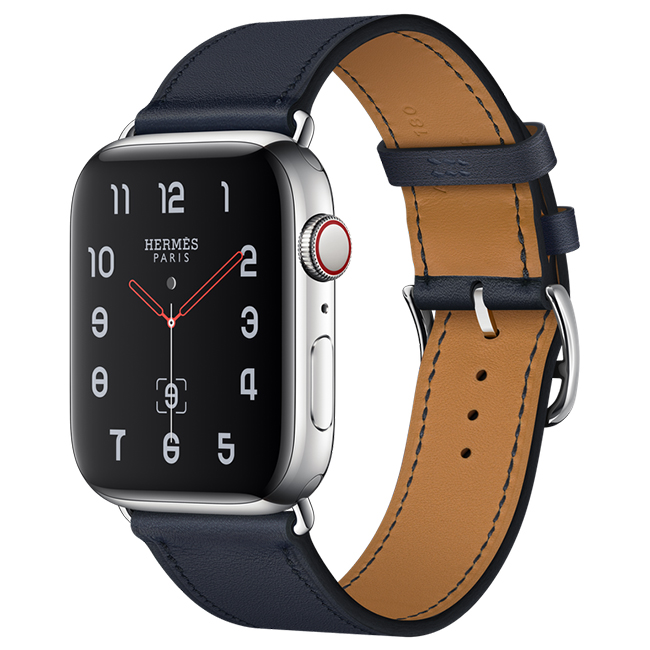 Apple Watch Hermès Series 4 44mm Stainless Steel Case with Blue Indigo Swift Leather Single Tour