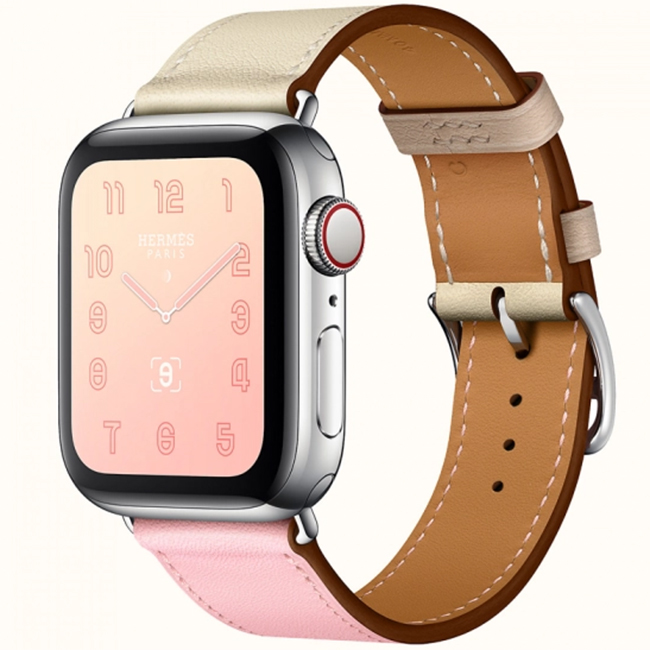 Apple Watch Hermès Series 4 40mm Stainless Steel Case with Rose Sakura/Craie/Argile Swift Leather Single Tour