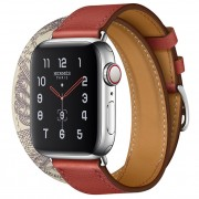 Apple Watch Series 5 Hermès 40mm Stainless Steel Case with Brique/Béton Swift Leather Double Tour
