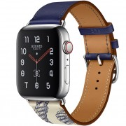 Apple Watch Series 5 Hermès 44mm Stainless Steel Case with Encre/Béton Swift Leather Single Tour