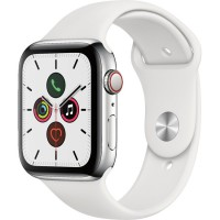 Apple Watch Series 5 44mm (MWW22) GPS + Cellular Stainless Steel Case with White Sport Band
