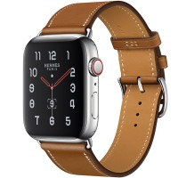 Apple Watch Series 5 Hermès 44mm Stainless Steel Case with Fauve Barenia Leather Single Tour