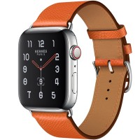 Apple Watch Series 5 Hermès 44mm Stainless Steel Case with Feu Epsom Leather Single Tour