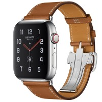Apple Watch Series 5 Hermès 44mm Stainless Steel Case with Fauve Barenia Leather Single Tour Deployment Buckle