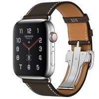 Apple Watch Series 5 Hermès 44mm Stainless Steel Case with Ébène Barenia Leather Single Tour Deployment Buckle