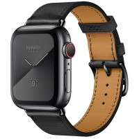 Apple Watch Series 5 Hermès 44mm Space Black Stainless Steel Case with Noir Swift Leather Single Tour