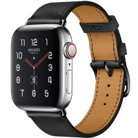 Apple Watch Series 5 Hermès 44mm Stainless Steel Case with Noir Swift Leather Single Tour