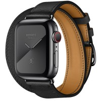 Apple Watch Series 5 Hermès 40mm Space Black Stainless Steel Case with Noir Swift Leather Double Tour