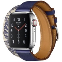 Apple Watch Series 5 Hermès 40mm Stainless Steel Case with Encre/Béton Swift Leather Double Tour