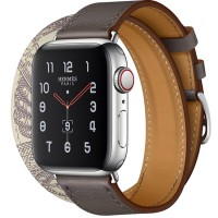 Apple Watch Series 5 Hermès 40mm Stainless Steel Case with Étain/Béton Swift Leather Double Tour