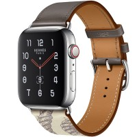 Apple Watch Series 5 Hermès 44mm Stainless Steel Case with Étain/Béton Swift Leather Single Tour