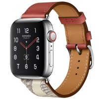 Apple Watch Series 5 Hermès 40mm Stainless Steel Case with Brique/Béton Swift Leather Single Tour