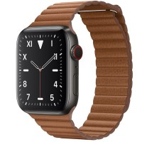 Apple Watch Edition 44mm GPS + Cellular Space Black Titanium Case with Saddle Brown Leather Loop