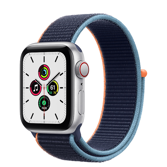 Apple Watch SE 44mm (MYEW2) GPS + Cellular Silver Aluminum Case with Deep Navy Sport Loop