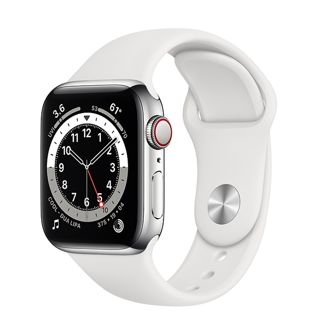 Apple Watch Series 6 40mm (M06T3) GPS + Cellular Silver Stainless Steel Case with White Sport Band