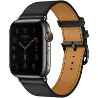 Apple Watch Series 6 Hermès 44mm Space Black Stainless Steel Case with Noir Swift Single Tour