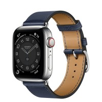 Apple Watch Series 6 Hermès 40mm Silver Stainless Steel Case with Navy Single Tour