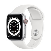 Apple Watch Series 6 40mm (M06M3) GPS + Cellular Silver Aluminum Case with White Sport Band