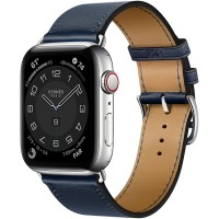 Apple Watch Series 6 Hermès 44mm Silver Stainless Steel Case with Navy Single Tour