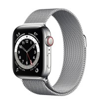 Apple Watch Series 6 40mm (M06U3) GPS + Cellular Silver Stainless Steel Case with Silver Milanese Loop