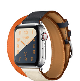 Apple Watch Hermès Series 4 40mm Stainless Steel Case with Indigo/Craie/Orange Swift Leather Double Tour