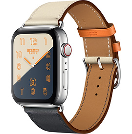 Apple Watch Hermès Series 4 44mm Stainless Steel Case with Indigo/Craie/Orange Swift Leather Single Tour