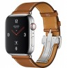 Apple Watch Hermès Series 4 44mm Stainless Steel Case with Fauve Barenia Leather Single Tour Deployment Buckle