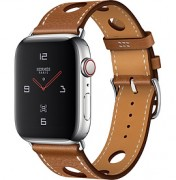 Apple Watch Hermès Series 4 44mm Stainless Steel Case with Fauve Grained Barenia Leather Single Tour Rallye