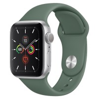 Apple Watch Series 5 44mm GPS Silver Aluminum Case with Pine Green Sport Band