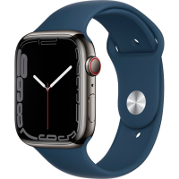 Apple Watch Series 7 41mm (MKHJ3) GPS + Cellular Graphite Stainless Steel Case with Abyss Blue Sport Band