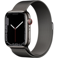 Apple Watch Series 7 41mm (MKHK3) GPS + Cellular Graphite Stainless Steel Case with Graphite Milanese Loop