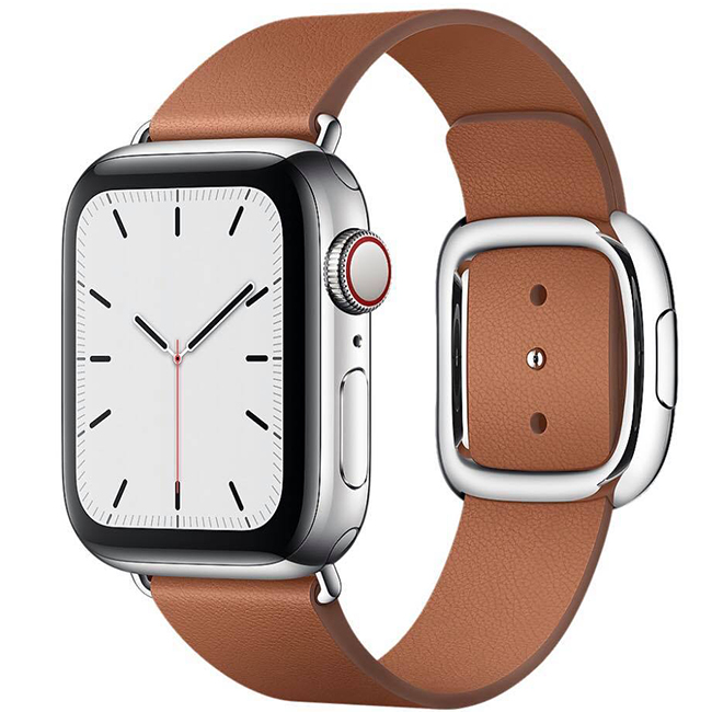Apple Watch Series 5 40mm (MWPX2) GPS + Cellular Stainless Steel Case with Saddle Brown Modern Buckle