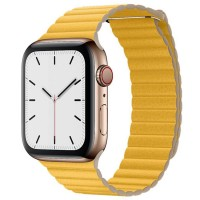 Apple Watch Series 5 44mm (MWQN2) GPS + Cellular Gold Stainless Steel Case with Meyer Lemon Leather Loop