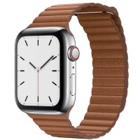 Apple Watch Series 5 44mm (MWQP2) GPS + Cellular Stainless Steel Case with Saddle Brown Leather Loop